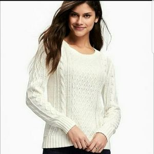 Old Navy Ivory Relaxed Cable Knit Sweater